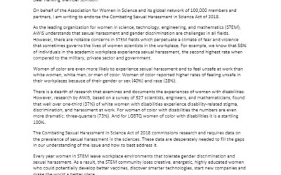 AWIS H.R. 7031 'Combating Sexual Harassment in Sciences Act of 2018' Endorsement Letter