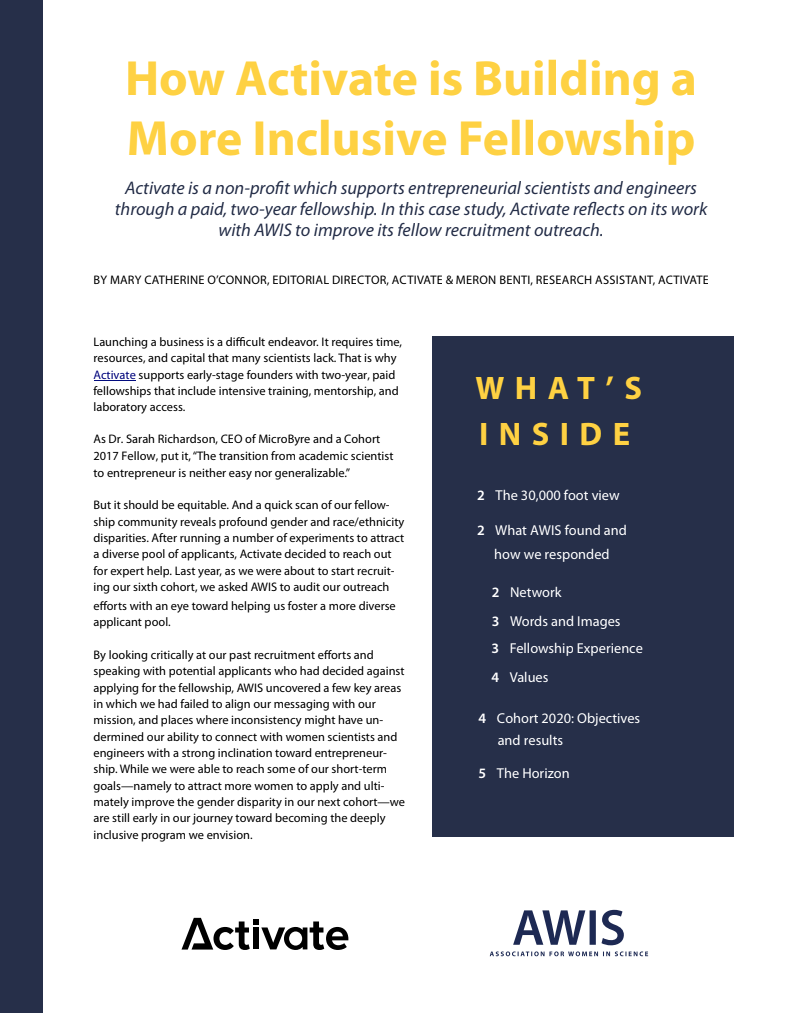 """A screenshot of the first page of the case study, with the headline """"How Activate is Building a More Inclusive Fellowship"""""""