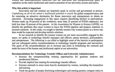 Capitalizing On the Entire Potential Innovative Capacity of Academia: Recommendations for Universities and Technology Transfer Offices