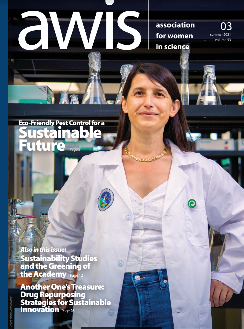 Cover of Innovation & Sustainability issue of AWIS Magazine featuring Dr. Fatma Kaplan, who is standing in a lab wearing an open lab coat and jeans.